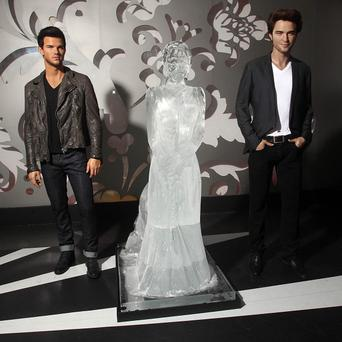 An ice sculpture of Twilight's Kristen Stewart joins wax versions of Taylor Lautner and Robert Pattinson