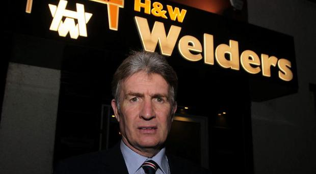 Former Glasgow Rangers player Sandy Jardine arrives at Belfast Harland and Wolff Welders Club last night