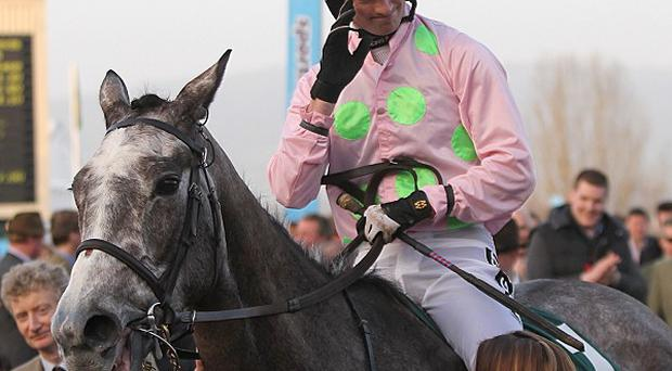 Patrick Mullins acknowledges the cheers as Champagne Fever returns