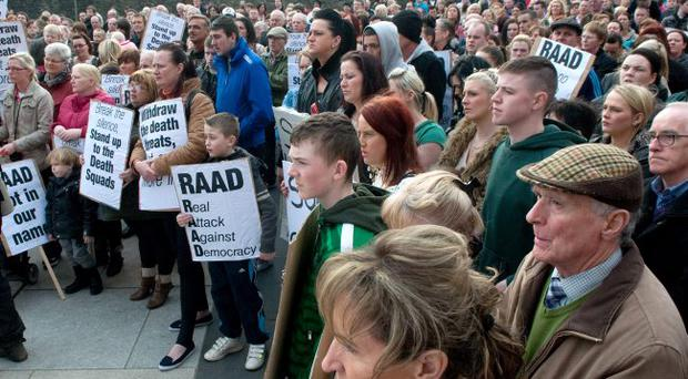 Protesters gathered in Derry's Guildhall Square calling for RAAD to disband