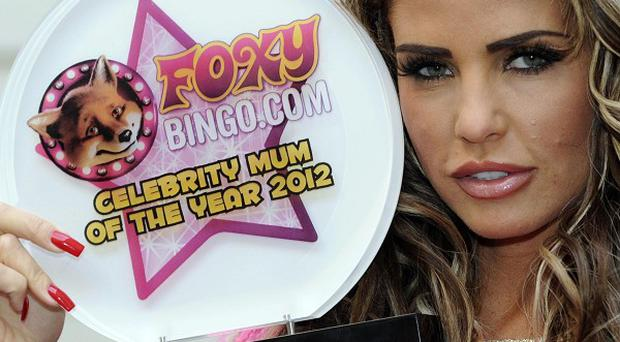 Katie Price has been named Foxy Bingo Celebrity Mum of the Year