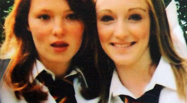 Charlotte Thompson, 13, (left) and Olivia Bazlinton 14, were hit by a train at a level crossing in Elsenham, Essex, in December 2005