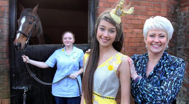 Pamela Ballantine helps Amy Dempster and Marie Curie nurse Kasia Patynowska launch the appeal