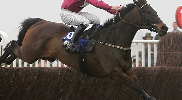 Sir Des Champs jumps the last in the Gigginstown colours