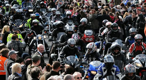 Bikers pass through Wootton Bassett to honour troops killed in Afghanistan