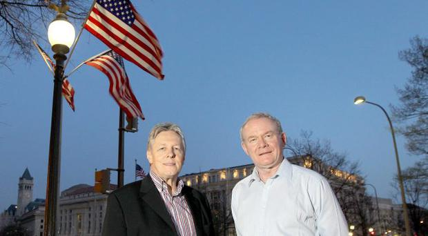 Luring tourists: First Minister Peter Robinson and deputy First Minister Martin McGuinness in Washington