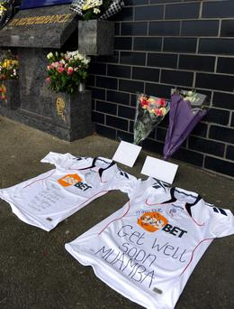 A view of shirts that have been left from from well wishers at the Reebok Stadium in Bolton, for Bolton Wanderer's Fabrice Muamba who collapsed on the pitch at White Hart Lane yesterday evening