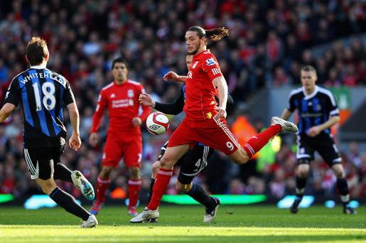 LIVERPOOL, ENGLAND - MARCH 18: Andy Carroll of Liverpool controls the ball during the FA Cup with Budweiser Sixth Round match between Liverpool and Stoke City at Anfield on March 18, 2012 in Liverpool, England. (Photo by Alex Livesey/Getty Images)