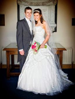 Joanne and Andrew Wills after their marriage in Dromara <p><b>To send us your Wedding Pics <a href=
