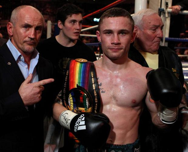 Number one: Carl Frampton, with manager Barry McGuigan, after his title defence in Sheffield