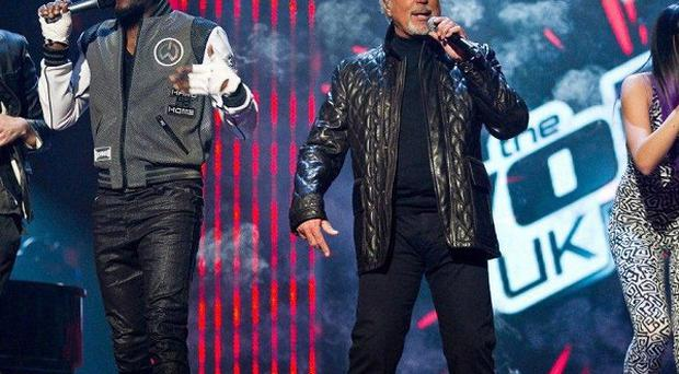 The Voice judges Danny O'Donoghue, Will.i.am, Tom Jones and Jessie J, show their charges how it's done