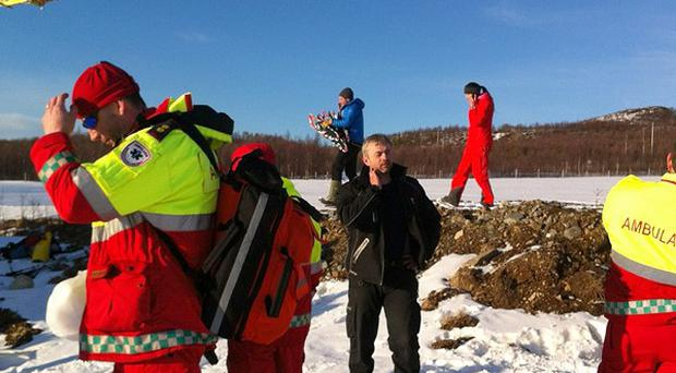 A group of 12 people were out skiing when the avalanche struck near the Sorbmegaisa mountain, police said (AP)