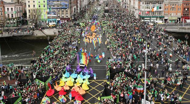 Huge crowds gather for the St Patrick's Day Parade on O'Connell Street, Dublin