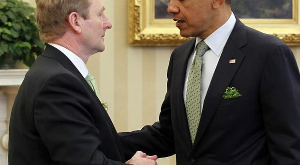 President Barack Obama meets with Enda Kenny in the Oval Office of the White House (AP)