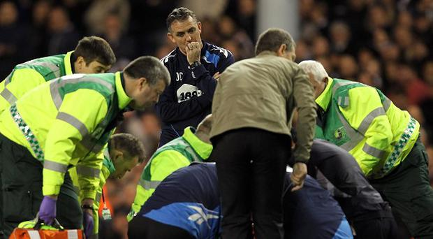 Fabrice Muamba is treated on the pitch