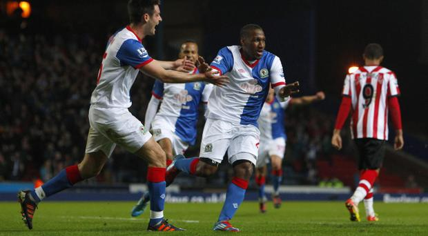 Blackburn Rovers' David Hoilett celebrates scoring the opening goal of the game during the Barclays Premier League match at Ewood Park, Blackburn