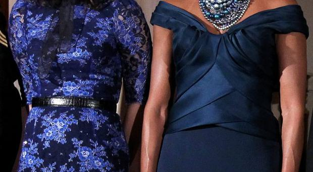 Dressing down: Samantha Cameron couldn't compete with Michelle Obama in the style stakes
