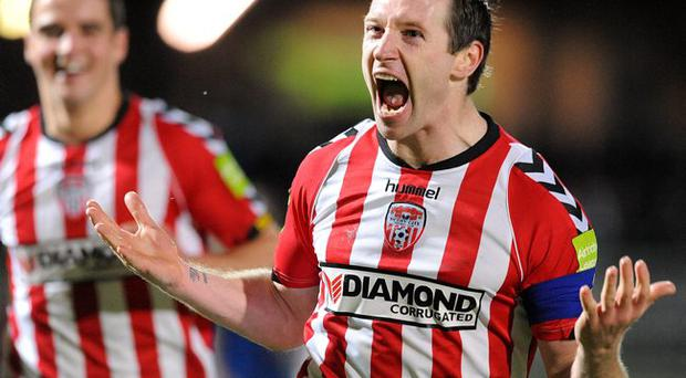 I feel good: Barry Molloy celebrates his equaliser for Derry City against Linfield in the Setanta Cup at the Brandywell on Tuesday night