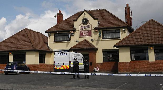 The scene outside the Faussagh House pub in north Dublin after the shooting of Eamon Dunne in 2010