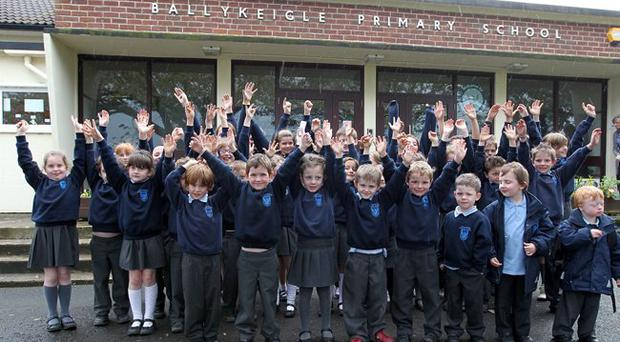 Pupils from doomed Ballykeigle Primary School, on the outskirts of Comber, Co Down