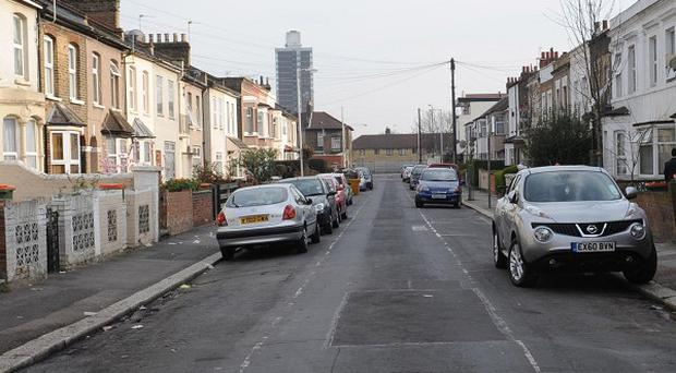 The street in Newham, east London, where a dog mauled five police officers during a raid on a house