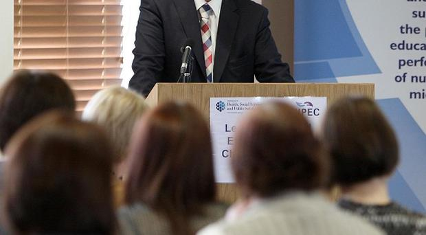 Health Minister Edwin Poots addresses delegates at the Ward Sister Conference in Newtownabbey