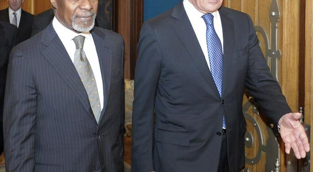 Kofi Annan and Russian foreign minister Sergey Lavrov met in Moscow (AP)