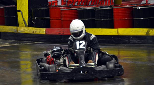 A participant in the 2012 karting endurance race at Eddie Irvine Sports in Bangor. Photo by Gary Fennelly