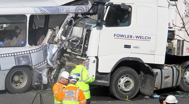 Two people have now died after a crash on the M5 involving a bus and a lorry