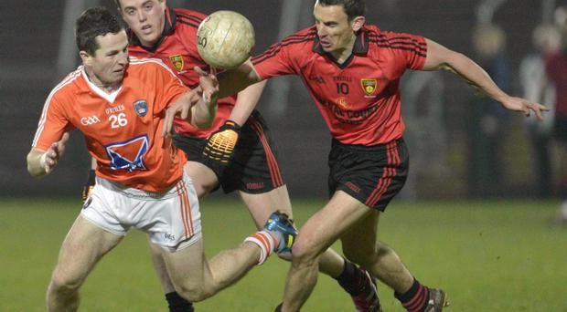 Michael Stevenson (left) during his stunning debut for Armagh