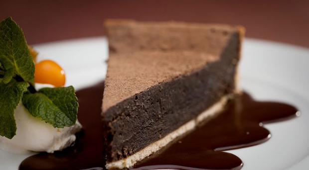 Chocolate tart with sable pastry.