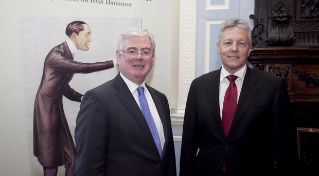 First Minister Peter Robinson MLA (right) and Tanaiste Eamon Gilmore TD at Iveagh House, Dublin, where Mr Robinson delivered the Edward Carson lecture