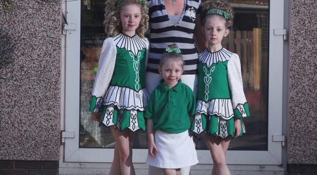 Dancing queens: Angela Bell with daughters, Katie Rose, Hannah and Caoihme