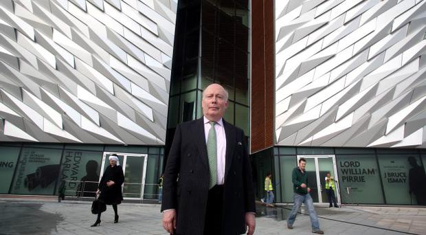 29.03.12. PICTURE BY DAVID FITZGERALDJulian Fellowes pictured outside the Titanic Building yesterday as he took the tour. Julian wrote Downton Abbey and also the recent Titanic Series which is on at the minute on ITV