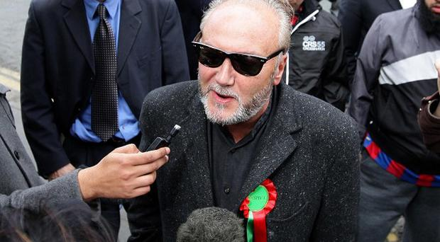 George Galloway speaks to the media in Bradford, following his victory