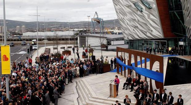 Crowds of tourists wait forthe opening of the new Titanic Belfast tourism project to the public. Photo Colm O'Reilly/Pacemaker Press