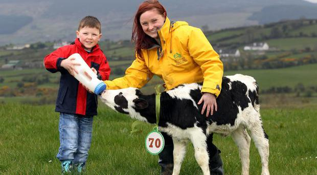 Aoibheann Fearon from Bóthar Northern Ireland with Eoin, aged 5 years old