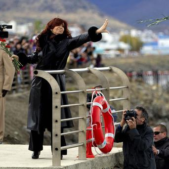 Argentina's President Cristina Fernandez at a ceremony in Ushuaia marking the 30th anniversary of the start of the Falkland conflict(AP)