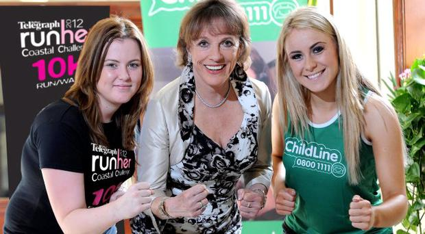 ChildLine founder Esther Ranzten CBE pictured with ChildLine volunteers Michaela Mallon (left) and Shaunagh Devlin (right) helped launch the charitys 2012 partnership with Belfast Telegraph Runhers 10K Coastal Challenge set to take place on Friday 25th May