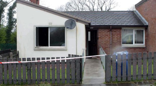 The scene of Tuesday's fatal fire in Lisburn