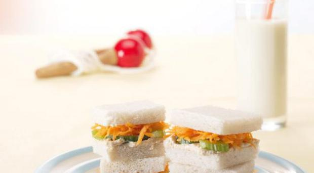Hummous with carrot and celery sandwhich