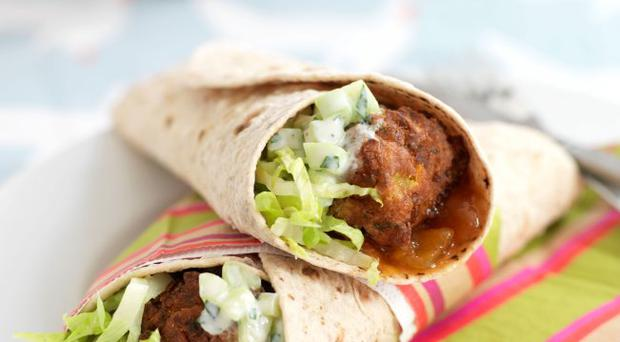 Onion bhaji and raita wrap