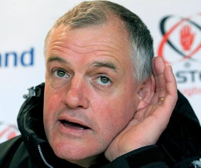 All ears: Ulster coach Brian McLaughlin, pictured at Wednesday's press conference, would love to hear that Stephen Ferris will be fit for Sunday's big match