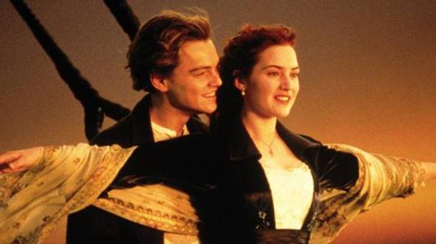 Kate Winslet and Leonardo DiCaprio are shown in a scene from Titanic