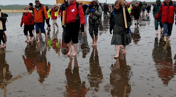 The Northern Cross 2012 pilgrimage joined together in Northumberland, grateful for the improved weather