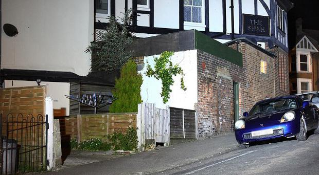 The scene in Hastings, East Sussex, after a Jacob Woudstra was stabbed to death in an attack near The Shah public house