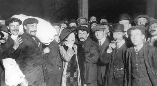 Survivors of the Titanic disaster are greeted by their relatives upon their safe return to Southampton.