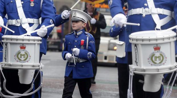 9th April 2012 A young member of the Millar Memorial band pictured during the parade as it makes it way through Belfast city centre.