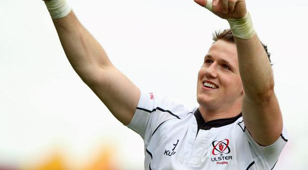Triumphant: Craig Gilroy celebrating his try in the game against Munster at Thomond Park
