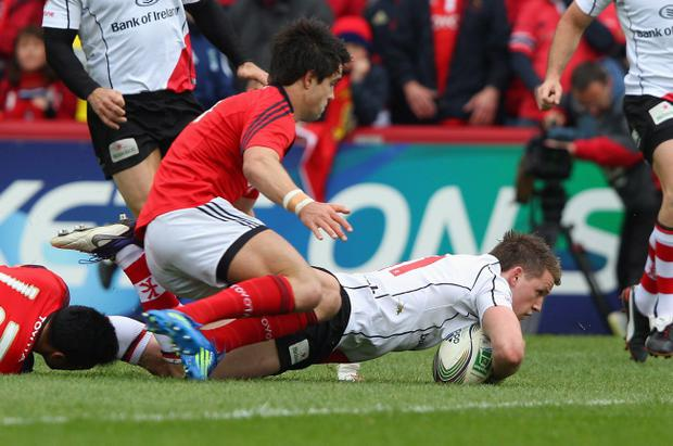 Craig Gilroy finishes off the wonder try that sent Ulster on their way to victory over Munster